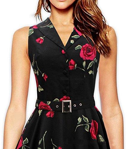 Eyekepper Robe Femme demoiselle ophelie vintage 1950 fete du jardin floral robe de pique-nique Noir