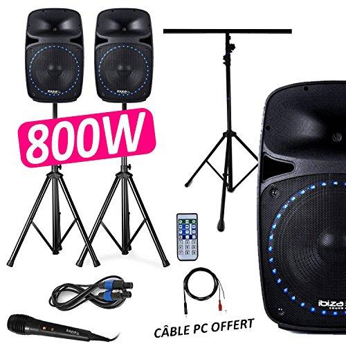 \'Pack Sono DJ PA 800W 2aktive Lautsprecher/passive LEDs 12FM/USB/Bluetooth + Füße + Micro + Portikus Licht