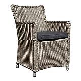 dasmöbelwerk Polyrattan Stuhl mit Sitzpolstern Rattan Stuhl Relax Sessel Gartenmöbel Gartenstuhl Lilie Grau