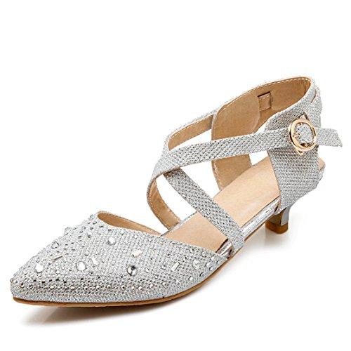 AIYOUMEI Damen Kleinem Absatz Spitz Glitzer Slingback Knöchelriemchen Pumps mit 3cm Absatz und Schnalle Kitten Heel Modern Pailletten Schuhe