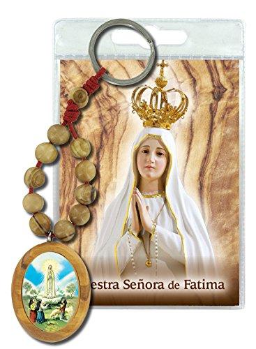 Llavero Virgen de Fátima con decenario en madera de olivo y oración en español
