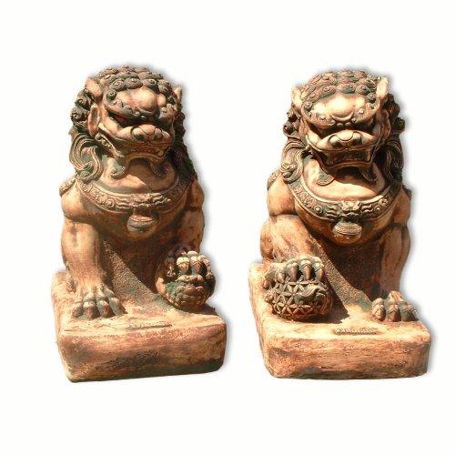 Wilai Steinfigur ★Fu-Hund★ Wächter Gartenfigur Gartendeko Löwe Tempel Männchen oder Weibchen 32,5 cm hoch