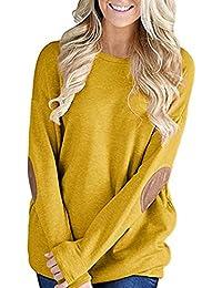 VJGOAL Mujeres otoño Informal Suelta la Moda de Manga Larga de Color sólido Remiendo Camiseta Inferior Blusa Tops