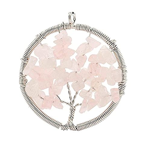Contever® Jewellery Crystal Element Rose Quartz Pendant Necklace Shaped Tree of Life