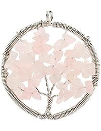 Contever® Colgantes de Joyas de CuarzoRosaVida árbol De La Collar del Encanto para las Niñas y las Mujeres
