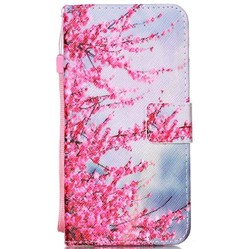 LMAZWUFULM Hülle für HTC Desire 650/628 / 626G 5.0 Zoll PU Leder Magnet Brieftasche Lederhülle Lebendige Pflaume Muster Stent-Funktion Schutzhülle Flip Cover für HTC 650/628 / 626G