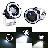 Auto LED Nebelscheinwerfer POSSBAY 76mm 12V 10W Wasserdicht Angel Eyes Aluminum mit Halterungen