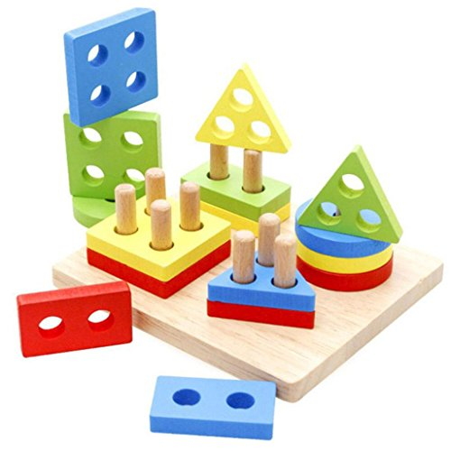 Gusspower Educational Geometric Wooden Board Collect Montessori Blocks for Children Educational Toys Baby Building Blocks
