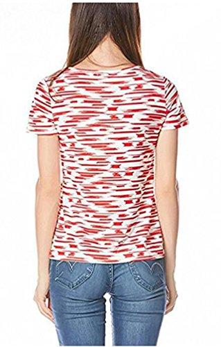 Anguang Donna Nursing Tops Breastfeeding maglietta a Maniche Corte A righe Camicetta Rosso
