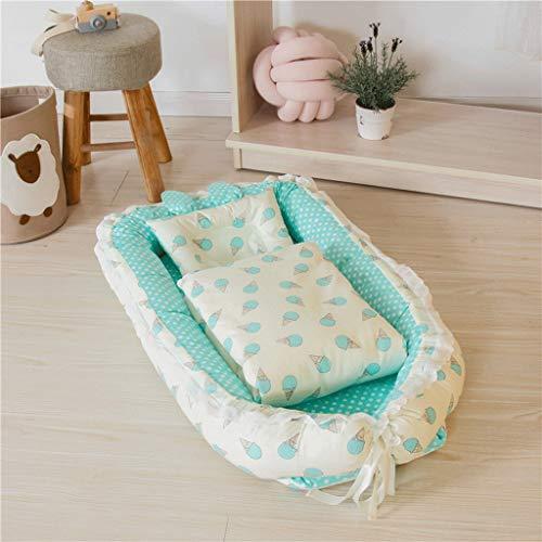 CXF Eiscreme-Muster-Multifunktionsbaby-Nest, tragbares Bb-Schlaf-blaues weiches Baby-Breathable Uterus-bionisches Bett-Reisebett (Farbe : Blue) -
