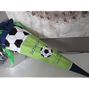 #124 Fussball grün Schultüte Stoff + Papprohling + als Kissen verwendbar