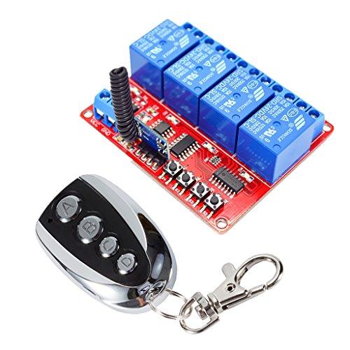 FLAMEER Transceptor de Interruptor Relé de Control Remoto 24 V 4 Canales Y 30 M, Receptor 433 MHz