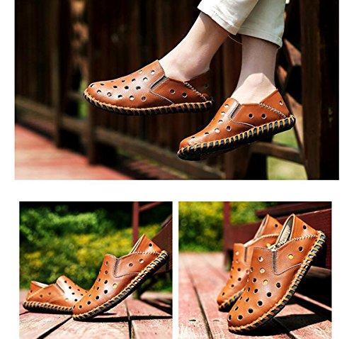 Beauqueen Uomo Crocs leggero che guida pelli casuali filo di cucire cavità traspirante superiore soft outsoles scarpe casuali UE taglia 38-44 Brown