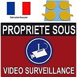 """Panneau de dissuasion """"propriéte sous vidéo surveillance"""" 300x200mm (pastilles double face offerte)"""