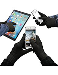 URCOVER® Guantes Táctiles para Pantalla | Touch Screen Display para Smartphone | Hombre y Mujer Talla Unica en Negro | Unisex Especiales Invierno Aire Libre