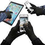 URCOVER® Guanti Touch-screen per Display Smartphone e Tablet | Guanti Invernali Outdoor Sport e Jogging | Unisex Taglia Unica per Uomo e Donna [ Nero ]