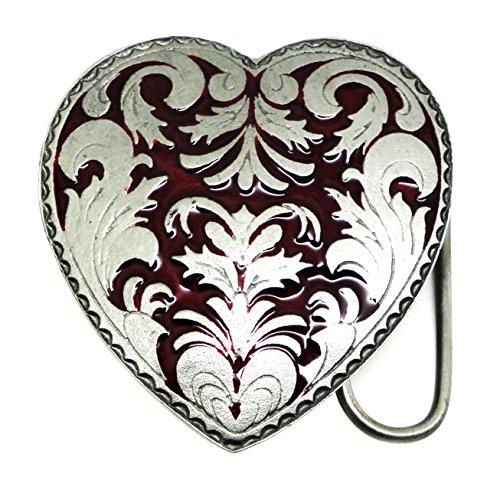 Herz Gürtelschnalle - Einzelne Rote Herz mit Floralen Design - Authentische C & J Buckles Markenprodukt