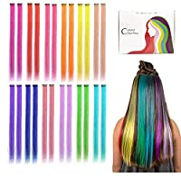 Kyerivs Colored Clip in Hair Extensions 20inch Rainbow Heat-Resistant Straight Highlight Hairpieces Cospaly Fashion Party For Kids Girls 12 Color in 24 pcs