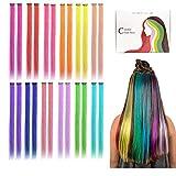 Kyerivs Colored clip in Hair extensions 24 Pezzi 12 Colori 20''arcobaleno resistente al calore dritto highlight Hairpieces Cospaly Fashion party per bambini Estensioni per capelli arcobaleno