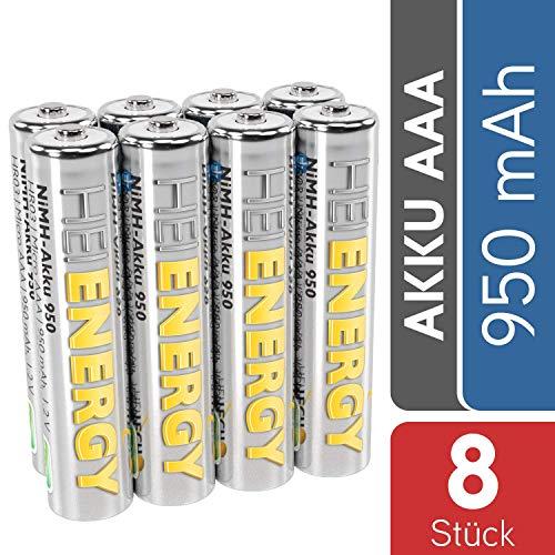 HEITECH AAA Akku Micro 950 mAh 1,2V NiMH TÜV geprüft 8 Stück - Wiederaufladbare Batterien mit geringer Selbstentladung - Akkus für Geräte mit hohem Stromverbrauch