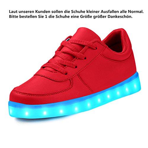 LeKuni Unisex LED Schuhe 2017 Verbesserung 7 Farbe Blinkende Leuchtende Light Up Low Top Sneakers(Größe 25-43) Rot