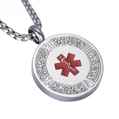 LiFashion LF 316L Edelstahl ICE personalisierte Zirkonia römische Ziffer medizinische Alert Runde Tag ID Anhänger Halskette Gesundheit Alarm Überwachung für Männer Frauen,kostenlose Gravur angepasst