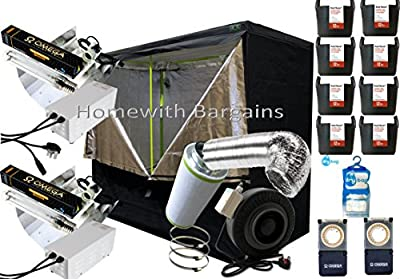 "Best Complete Grow Room Full Setup 2.4m 240cm Tent 6"" Inline Fan Filter 2 x 600w Dual Light Kit, Hydroponics"