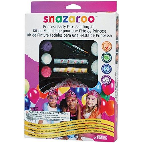 Snazaroo Schminkfarben Party Set Prinzessin, Schminkpalette mit Pinsel, 2 Schwämmchen und Anleitung, 6 x Kronen, 5 Farben
