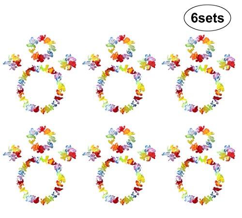 InnoBase Hawaii Ruffled Blumen Leis Kostüm Set,Luau Hawaiianische Blumenketten Girlanden Armbänder Stirnband Halskette Kleid Strand Hawaiikette Luau Tropische Thema Party Lieferungen - Insel Motto Party Kostüm
