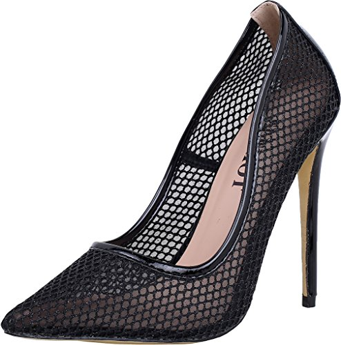ELEHOT Donna Scorpio tacco a spillo 12CM Leather Sandali, nero,