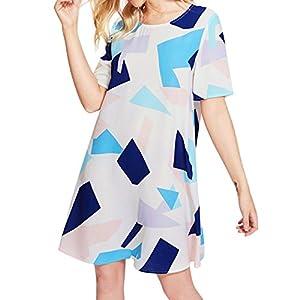 YCQUE Frauen Sommer Mode Lässig Lose Plus Größe Oansatz Kurzhülse O Hals Gedruckt Kleid Lässig Strand Abend Party Kleid Sommerkleid Strand