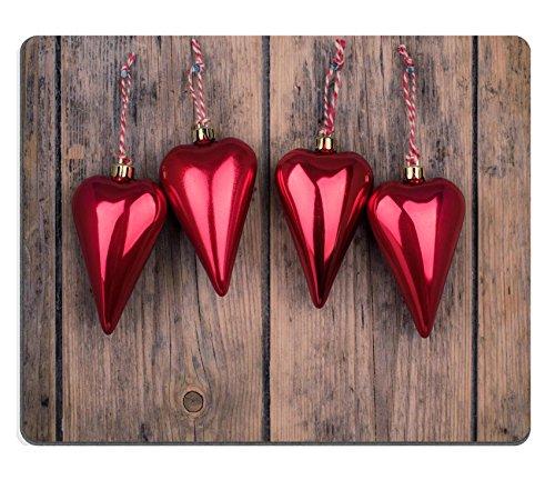 Liili Mauspad Naturkautschuk Mousepad Bild-ID 32342571Vier Weihnachten rot Ornament Herz Rustikal Wand Hintergrund Vintage-Klang Anpassung (Vier Weihnachts-ornament)