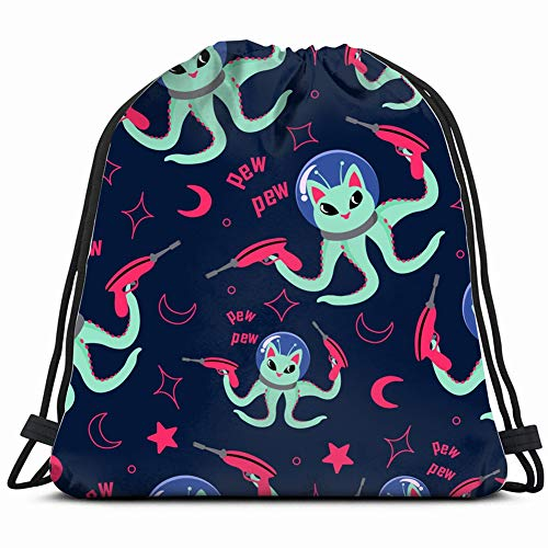 beautiful& Alien cat Shooting Lasers Pattern on Animals Wildlife Gym Sack Bag Drawstring Sport Beach Travel Outdoor Backpack for Women 17X14 Inch