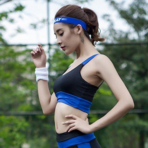 Vertvie Femme Soutien-gorge de Sport Rembourré Push Up sans Armature Lingerie Bra Patchwork Bretelles M-Type Dos pour Fitness Yoga Jogging Cyclisme Bleu