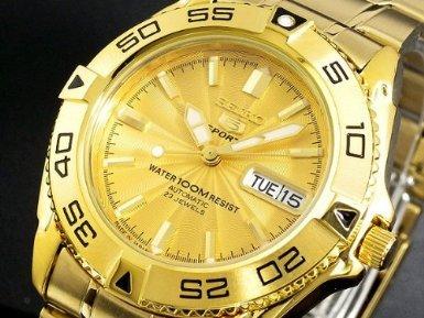 ef77ce22d Seiko 5 Sports #SNZB26J1 Men's Japan Gold Tone Stainless Steel 100M  Automatic Dive Watc1