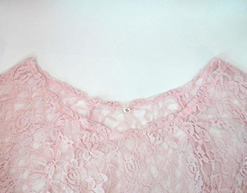 ABBY Eté en Europe et en Amérique brodé chemisier chemise en dentelle femmes de grande taille Rose