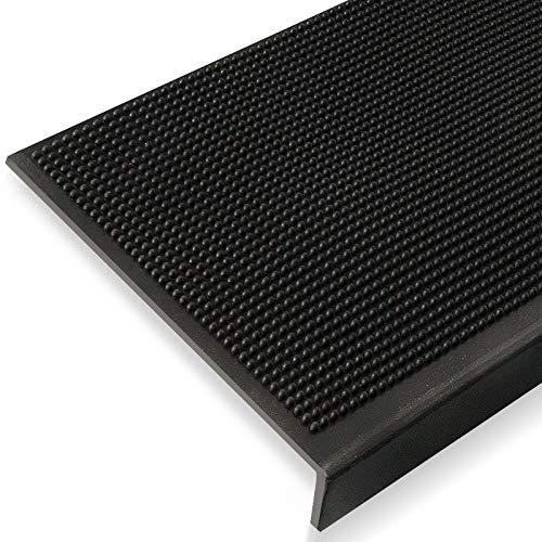 Antirutsch Stufenmatten aus Gummi mit Winkelkante | rutschhemmend für außen und innen | zwei Größen zur Wahl im 5er Set | viele Designs für Ihre Treppe | Design Noppen - 65 x 25 cm
