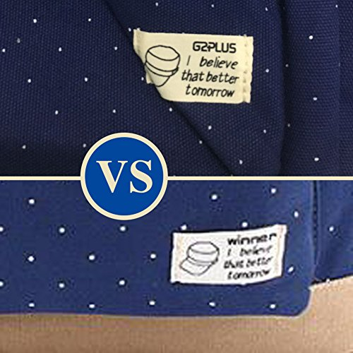 G2Plus Leichte Schulrucksack mit Polka Dots Nette Canvas Schultaschen Damen Mädchen EXTRA Groß Kinderrucksack Daypacks Rucksäcke Modische mit Laptop Fach 28 * 42 * 13 cm – Little Princess (Blau 1) - 5