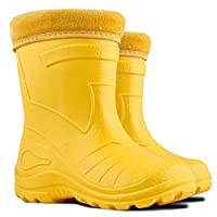 Ultra Light EVA Kids Girls Wellington Boots Rainy Snow Wellies Red Very Warm Liners (13 UK / 32 EU - 20.5 cm, Yellow)