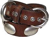FRONHOFER edles 2,5 cm Hundehalsband, Nietenhalsband aus echtem Leder mit großen Nieten! Sternenhalsband, 17528, Farbe:Mocca;Größe Hundehalsband:S Halsumfang 32 - 40 cm