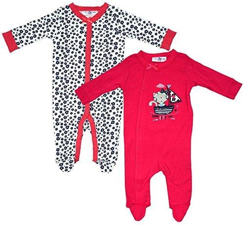 aaaeba5ba8f92 bébé filles Paquet de 2 Kitty Marin grenouillère coton barboteuses tailles  de nouveau-né pour