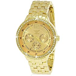 NY London Designer Rhinestone Chronograph Women's Watch in Gold with Watch Box