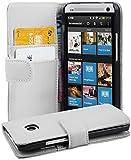 Cadorabo Hülle für HTC One M7 (1. Gen.) Hülle in Handyhülle mit Kartenfach aus Glattem Kunstleder Case Cover Schutzhülle Etui Tasche Book Klapp Style Polar Weiß