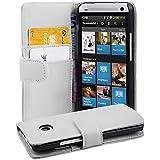 Cadorabo - Book Style Hülle für HTC ONE (M7 1. Generation) - Case Cover Schutzhülle Etui Tasche mit Kartenfach in POLAR-WEIß