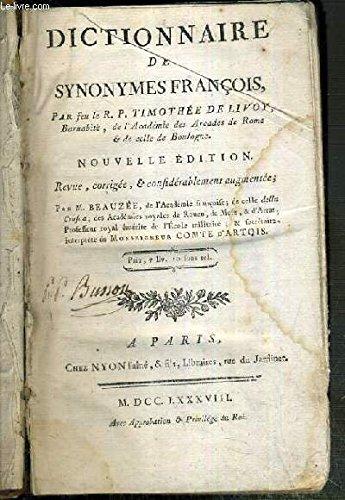 Dictionnaire de synonymes françois par LIVOY TIMOTHEE DE R. P.