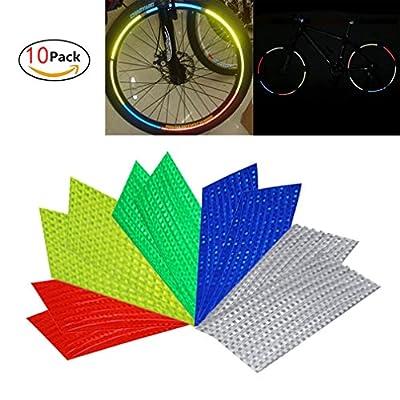 10 Pack Fluorescent Fahrrad Reflektierende Aufkleber Streifen für 2 Mountain Road Bikes (26-Zoll)