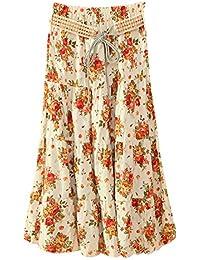 907d50ec76 Boho Largo Midi Falda para Mujeres Faldas Estampada Floral Bohemias para  Playa Verano