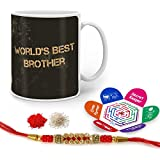 Indigifts Rakhi Gifts For Brother World Best Bro Quote Printed Gift Set Of Mug 330 Ml, Crystal Rakhi For Brother, Roli, Chawal & Greeting Card - Rakshabandhan Gifts For Brother, Rakhi For Brother With Gifts, Raksha Bandhan Gifts, Brother Coffee Cup