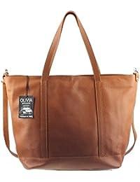 Olivia - Sac à main cuir marron PARME N1131 Sac shopping OLIVIA MAROQUINERIE - Marron, Cuir