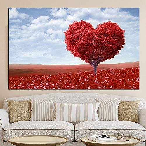 yhyxll Große größe Liebe Herz Baum im Meer von Blumen Landschaft ölgemälde auf leinwand Poster drucken wandbild Moderne Kunst für Wohnzimmer 50x70 cm